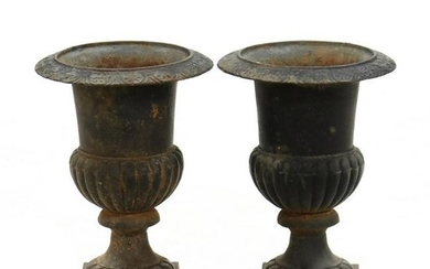 Pair of Antique Cast iron Classical Style Garden Urns