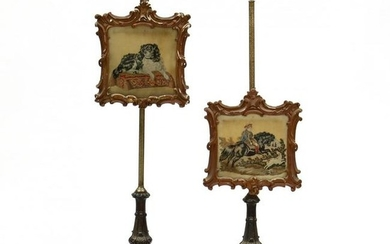 Pair of Rococo Style Carved Rosewood Polescreens