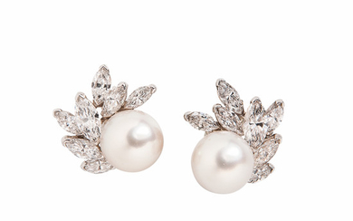 Platinum, Cultured Pearl, and Diamond Earrings, Van Cleef & Arpels