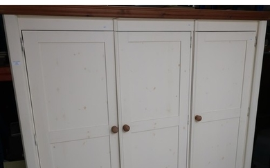 Quality modern contemporary pine and cream painted triple do...