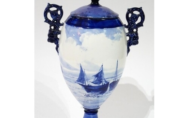ROYAL CROWN DERBY, DUTCH DESIGN BLUE AND WHITE VASE AND COVE...