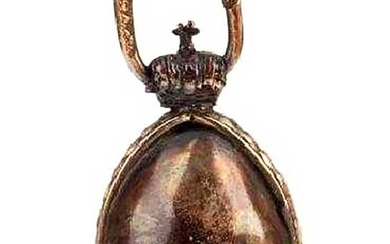 RUSSIAN IMPERIAL GOLD & SILVER EGG PENDANT