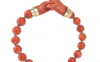 Red Mediterranean coral (Corallium Rubrum) bangle bracelet with 18 faceted...
