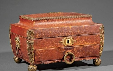Regency Gilt Bronze-Mounted Leather Sewing Box