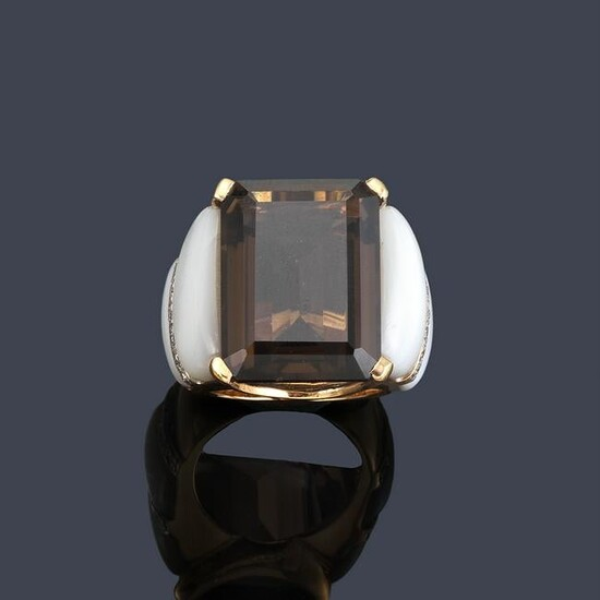 Ring with smoky quartz approx. 19.60 ct with