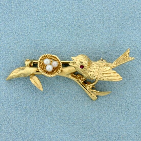 Ruby and Pearl Bird Nest Pin in 14K Yellow Gold