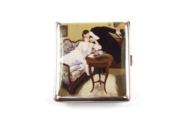 Silver and enamel cigarette case
