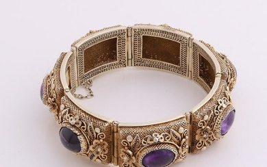 Silver plated bracelet with purple stones. Bracelet