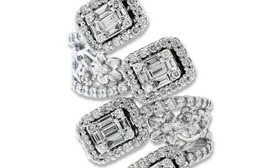 Stambolian White Gold and Baguette Diamond Floral