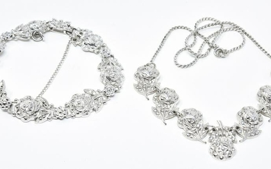 Sterling Silver & Marcasite Necklace & Bracelet