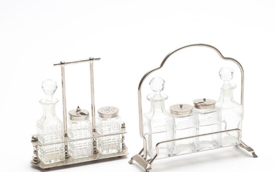 TABLE SETS, 2 pcs, glass and white metal, 20th century.
