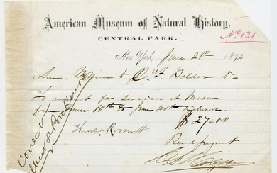 TR's Father, Theodore Roosevelt, Sr. Signed Receipt Re