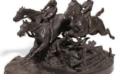 THE STEEPLECHASE: A BRONZE FIGURAL GROUP, AFTER THE MODEL BY YEVGENY LANSERE (1848 - 1886), 1882