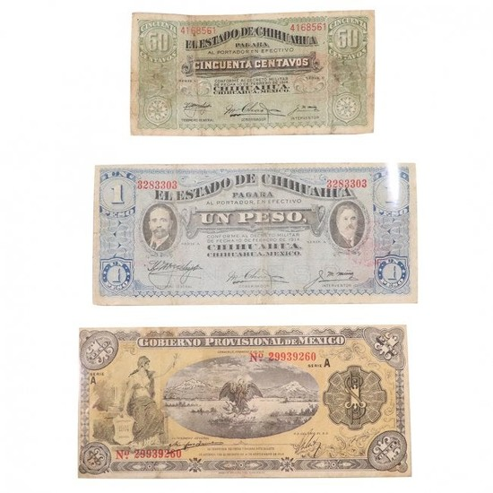 Three [3] Assorted Vintage Mexican Paper Money