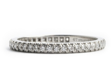 """Tiffany & Co.: A diamond eternity ring """"Soleste"""" set with numerous brilliant-cut diamonds weighing a total of app. 0.34 ct., mounted in platinum. G/VVS-VS."""