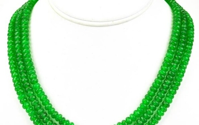 Triple Strand Faceted Green Jade Beaded Necklace