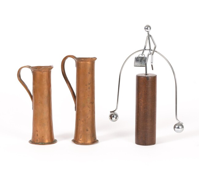 Two American Copper Ewers Colucci, Greenfield Mass, and a Wood and Metal Balance Sculpture FR3SHLM