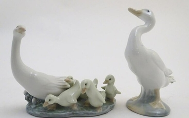 Two Lladro figures models as geese, a Mother Goose and
