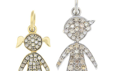 Two diamond pendants, depicting a boy and a girl.