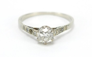 Unmarked white gold diamond solitaire ring (tests as