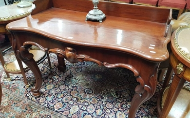 Victorian Mahogany Side Table, with gallery back & serpentine front, fitted with a drawer & on cabriole legs