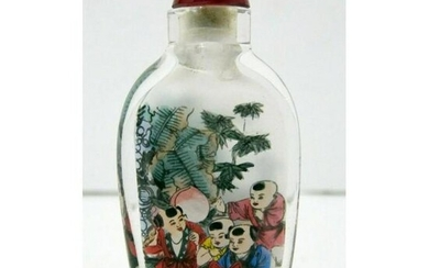 Vintage Chinese Snuff Bottle With Figures of Children