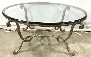 Vintage Glass Topped & Metal Coffee Table