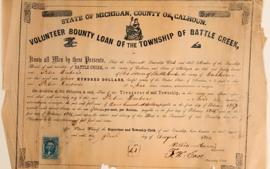 Volunteer County Loan for the Township of Battle Creek - Civil War (#2) #105932