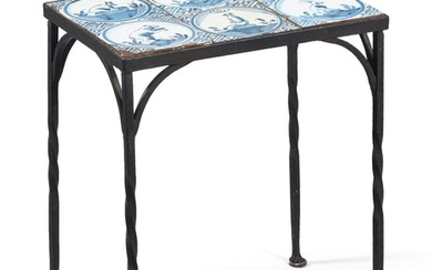 WROUGHT IRON TABLE INSET WITH SIX 18TH CENTURY BLUE AND WHITE DELFT TILES Each tile depicts an animal in a landscape. Later wrought...