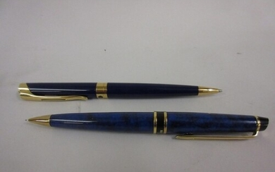 Waterman blue marble effect propelling pencil, together with...