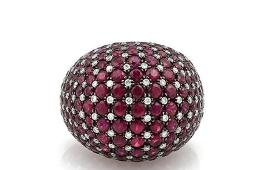 18Kt White Gold Ruby Diamond Cluster Ring