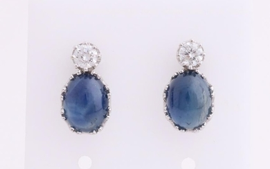White gold earrings, 750/000, with diamond and