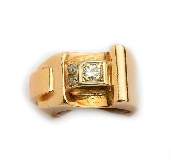 Yellow gold ring decorated in the center with...
