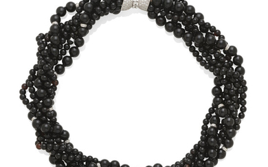a black onyx and diamond torsade necklace