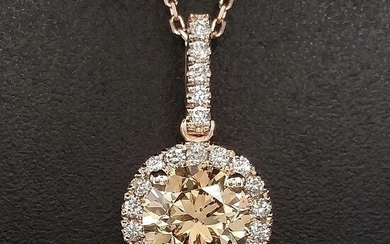 1.17ct Natural Fancy Vivid Yellowish Brown, Diamonds - 14 kt. Pink gold - Pendant - ***No Reserve Price***