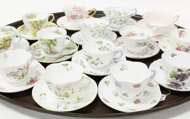 14 Shelley English Bone China Tea Cups and Saucers