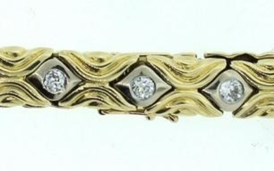 14K YELLOW & WHITE GOLD 1.20CTS DIAMOND BRACELET C.1950