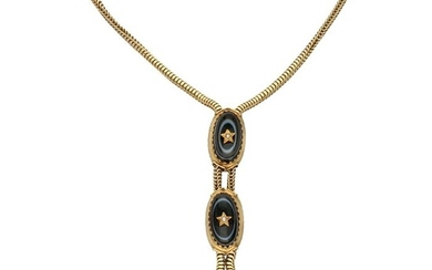 18 kt. Gold - Necklace - Ruby, Seed Pearl, Agate
