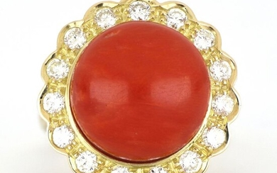 18 kt. Yellow gold - Ring - 1.00 ct Diamond - Coral