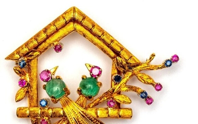 18krt. Gold brooch, in the shape of a...