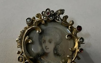19th C Mini Painted Portrait Brooch, Hallmarked LP