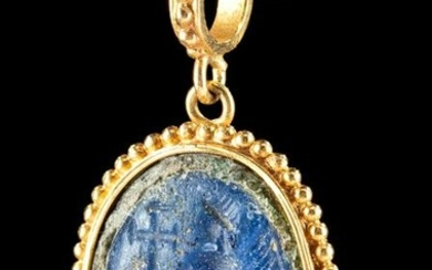 21K Gold Pendant w/ Roman Glass Intaglio of Bishop