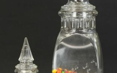TWO CATHEDRAL TOP CANDY JARS