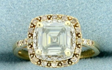 2ct TW Ascher Cut Moissanite and Diamond Double Halo