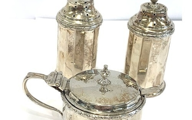 3 piece silver condiment set and spoon