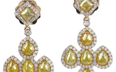 5.71 Carat Slice Diamond 18 Karat Gold Earrings
