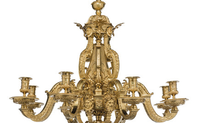 A FRENCH ORMOLU EIGHT-LIGHT CHANDELIER, IN THE MANNER OF ANDRE CHARLES BOULLE, SECOND HALF 19TH CENTURY