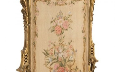 61081: A French Louis XV-Style Giltwood Fire Screen wit
