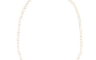 SAPPHIRE AND PEARL BEAD NECKLACE in 18ct white gold