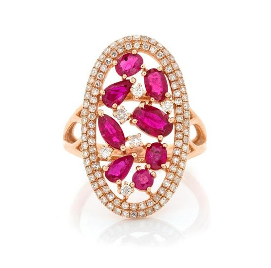 A 14 Karat Rose Gold, Ruby and Diamond Ring,